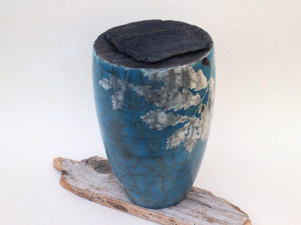 Naked Raku Keramik mit Cyanotypie