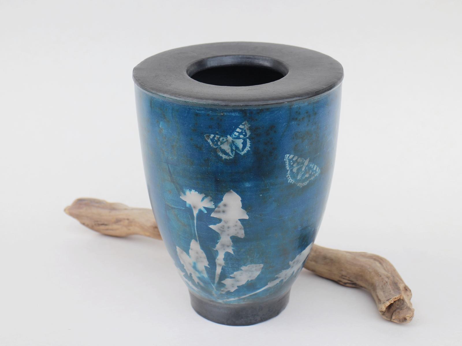 Vase blau Cyanotypie